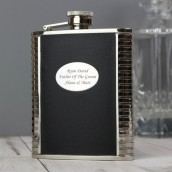 Engraved 6oz Black Leather Hip flask