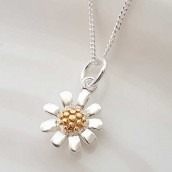 Silver Daisy Necklace In Personalised Box