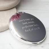 Engraved Round Compact Mirror