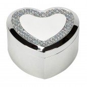 Engraved Silver Heart Trinket Box With Crystal Inlay