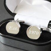 Personalised Silver Plated Round Chunky Cufflinks