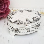 Engraved Silver Rose Trinket Box With Feet
