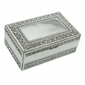 Engraved Silver Beaded Trinket Box