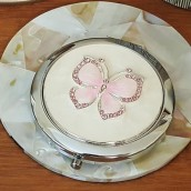 Engraved Silver Plated Pink Butterfly Compact Mirror