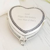 Engraved Silver Heart Trinket Box with Feet