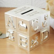 Engraved Silver ABC Cube Money Box