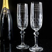 Engrved Crystal Champagne Flutes