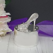 Engraved Crystal Peeptoe Shoes Trinket Box