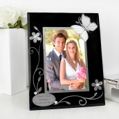 Personalised Black Glass With Silver Butterflies Photo Frame