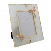 Personalised Pink Floral Glass Photo Frame