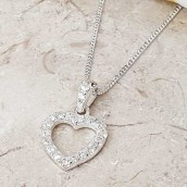 Silver Crystal Heart Necklace In Personalised Gift Box