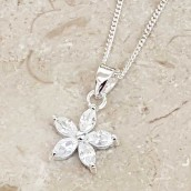 Personalised Sterling Silver Crystal Flower Necklace