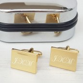 Personalised Gold Plated Rectangle Cufflinks