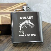 Engraved Fishing Design Hip flask