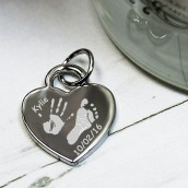 Personalised Imprint Silver Heart Charm