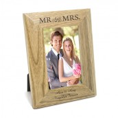 Personalised Mr & Mrs Oak Picture Frame
