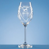 Engraved Swarvoski Crystal Wine Glass