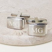 Engraved Brushed And Polished Rectangular Cufflinks