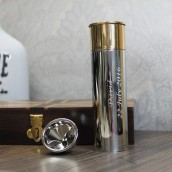 Engraved 4oz Shot Gun Cartridge Hip Flask