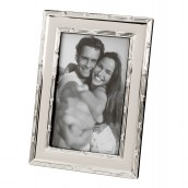 Engraved Silver Ribbon Edge Photo Frame