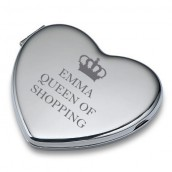 Personalised Heart Compact Mirror - Queen Of...