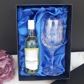 Personalised Lead Crystal Wine Glass And Wine Set