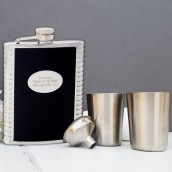 Engraved Black Leather Hip Flask and Cups Gift Set