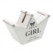 Personalised Silver Plated It's A Girl Crown Money Box