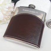 Personalised Brown Leather Wave Hip Flask