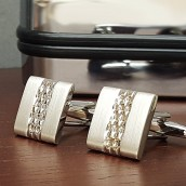 Silver Plated Square Patterned Cufflinks