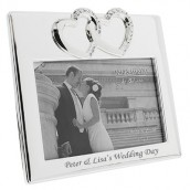 Personalised Silver Plated Crystal Heart Photo Frame