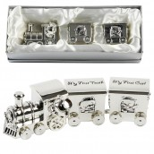 Personalised Silver Plated 'Baby's First' Trinket Train