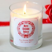 Personalised Christmas Wreath Design Glass Fragranced Candle