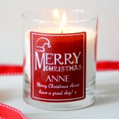 Personalised Merry Christmas Fragranced Glass Candle