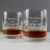 Personalised Pair of Crystal Whiskey Tumblers