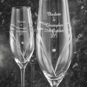 Personalised Pair of Heart Swarovski Champagne Flutes
