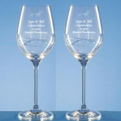 Personalised Pair of Swarovski Diamante Wine Glasses