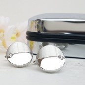 Personalised Crystal Detail Silver Plated Round Cufflinks