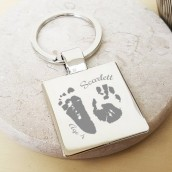 Personalised Imprint Silver Cushion Keyring