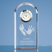 Personalised Imprint Bevelled Arch Crystal Glass Clock