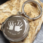 Personalised Imprint Round Silver Locket Keyring