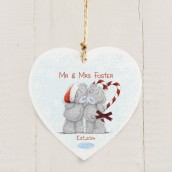 Personalised 'Me to You' Couple's Wooden Hanging Christmas Decoration