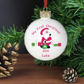 Personalised My 1st Christmas Santa with Presents Design Bauble