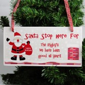 Personalised Santa Stop Here Wooden Christmas Sign