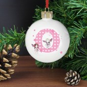Personalised Initial Letter Fairy Design Christmas Bauble