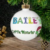 Personalised Little Monster Name Christmas Bauble