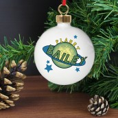 Personalised Space Design Name Christmas Bauble