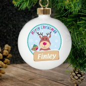 Personalised Christmas Rudolph Bauble