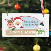 Personalised Santa & Friends Please Stop Here Wooden Sign