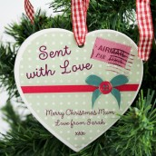 Personalised Sent With Love Wooden Heart Tree Decoration